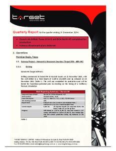 Quarterly Report for the quarter ending 31 December 2014