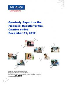Quarterly Report on the Financial Results for the Quarter ended December 31, 2012