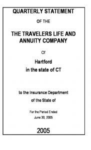 QUARTERLY STATEMENT THE TRAVELERS LIFE AND ANNUITY COMPANY