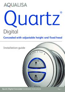 Quartz. Digital. Concealed with adjustable height and fixed head. Installation guide. Quartz Digital Concealed installation instructions Page 1