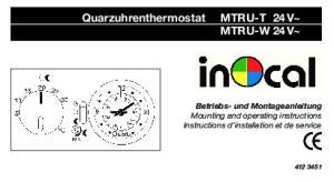 Quarzuhrenthermostat MTRU-T 24V~ MTRU-W 24V~
