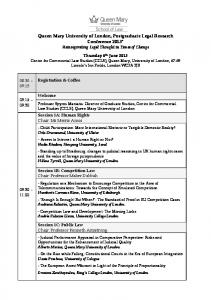 Queen Mary University of London, Postgraduate Legal Research Conference 2013* Reinvigorating Legal Thought in Times of Change