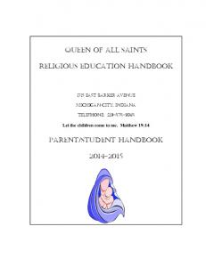 Queen of all saints. Religious education handbook