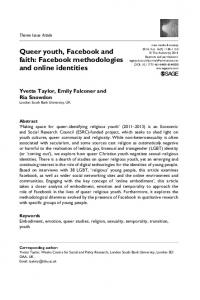 Queer youth, Facebook and faith: Facebook methodologies and online identities