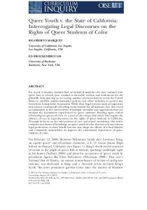 Queer Youth v. the State of California: Interrogating Legal Discourses on the Rights of Queer Students of Color