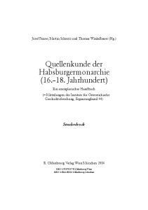 Quellenkunde der Habsburgermonarchie ( Jahrhundert)