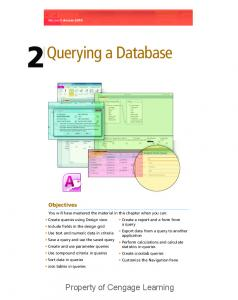 Querying a Database. Property of Cengage Learning. Objectives