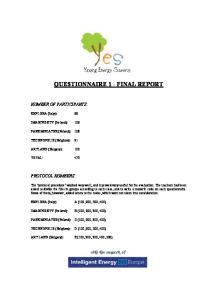 QUESTIONNAIRE 1 - FINAL REPORT