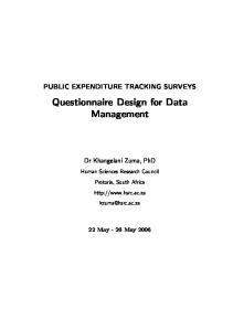 Questionnaire Design for Data Management