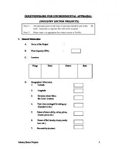 QUESTIONNAIRE FOR ENVIRONMENTAL APPRAISAL (INDUSTRY SECTOR PROJECTS)