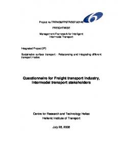 Questionnaire for Freight transport industry, intermodal transport stakeholders