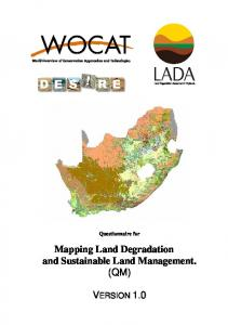 Questionnaire for. Mapping Land Degradation and Sustainable Land Management. (QM) VERSION 1.0