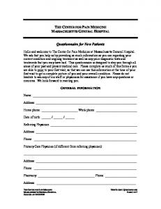 Questionnaire for New Patients