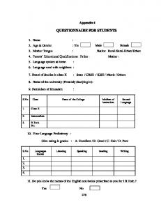 QUESTIONNAIRE FOR STUDENTS