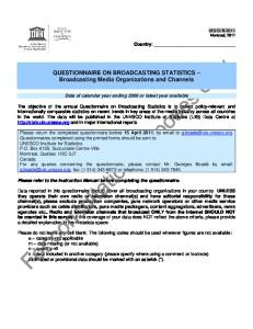 QUESTIONNAIRE ON BROADCASTING STATISTICS Broadcasting Media Organizations and Channels