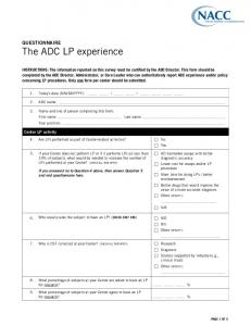 QUESTIONNAIRE The ADC LP experience