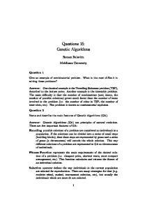 Questions 15: Genetic Algorithms