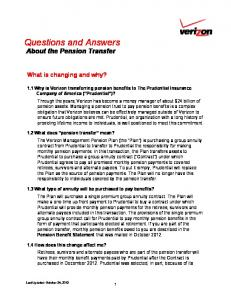 Questions and Answers About the Pension Transfer