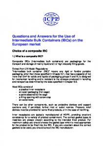 Questions and Answers for the Use of Intermediate Bulk Containers (IBCs) on the European market