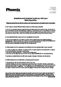 Questions and Answers to aid you with your Maturing policy