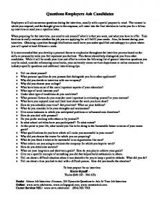 Questions Employers Ask Candidates