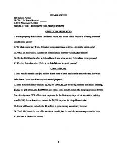 QUESTIONS PRESENTED. I. Which property should Irons transfer to Janna, and which of her lawyer s alimony proposals