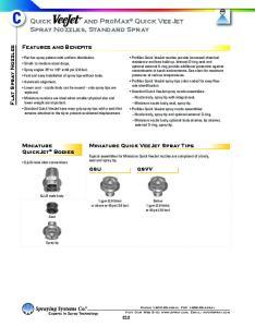 Quick and ProMax Quick VeeJet Spray Nozzles, Standard Spray