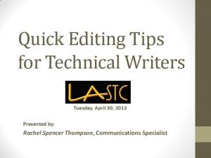 Quick Editing Tips for Technical Writers