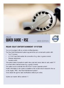 QUICK GUIDE - RSE. WEB EDItIOn REAR SEAT ENTERTAINMENT SYSTEM VOLVO