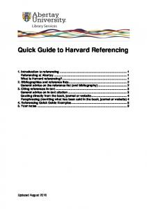 Quick Guide to Harvard Referencing