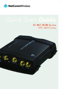 Quick Start Guide. 4G WiFi M2M Router NTC-140W Series