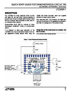 QUICK START GUIDE FOR DEMONSTRATION CIRCUIT CHANNEL DIFFERENTIAL 16-BIT ADC LTC DESCRIPTION