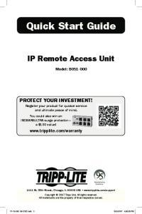 Quick Start Guide. IP Remote Access Unit. Model: B