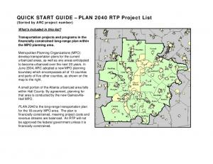 QUICK START GUIDE PLAN 2040 RTP Project List (Sorted by ARC project number)