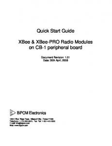 Quick Start Guide. XBee & XBee-PRO Radio Modules on CB-1 peripheral board