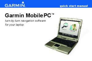 quick start manual Garmin MobilePC turn-by-turn navigation software for your laptop