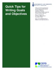 Quick Tips for Writing Goals and Objectives