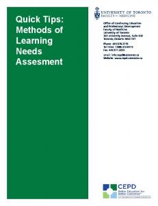Quick Tips: Methods of Learning Needs Assesment
