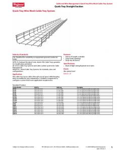 Quick Tray Straight Section Quick Tray Wire Mesh Cable Tray System