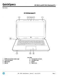 QuickSpecs. HP 240 Notebook PC. HP 240 G2 and HP 250 G2 Notebook PCs. Overview