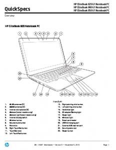 QuickSpecs. HP EliteBook 820 Notebook PC. HP EliteBook 820 G1 Notebook PC HP EliteBook 840 G1 Notebook PC HP EliteBook 850 G1 Notebook PC
