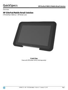 QuickSpecs. HP ElitePad Mobile Retail Solution HP ElitePad 1000 G2 + HP Retail Case. Front View Shown with HP ElitePad 1000 G2 (Sold separately)
