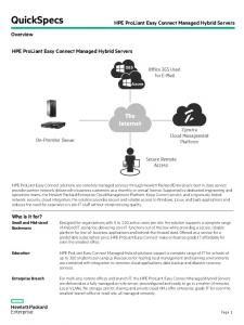 QuickSpecs. HPE ProLiant Easy Connect Managed Hybrid Servers. Overview. HPE ProLiant Easy Connect Managed Hybrid Servers