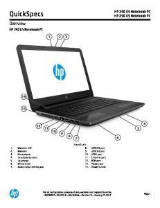 QuickSpecs. Overview. HP 240 G5 Notebook PC HP 250 G5 Notebook PC. HP 240 G5 Notebook PC