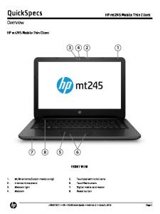 QuickSpecs. Overview. HP mt245 Mobile Thin Client. HP mt245 Mobile Thin Client FRONT VIEW