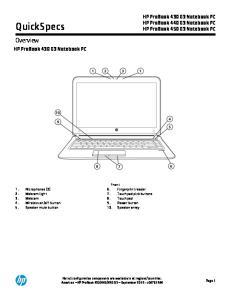 QuickSpecs. Overview. HP ProBook 430 G3 Notebook PC HP ProBook 440 G3 Notebook PC HP ProBook 450 G3 Notebook PC