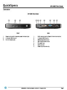 QuickSpecs. Overview. HP t420 Thin Client