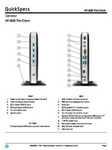 QuickSpecs. Overview. HP t630 Thin Client