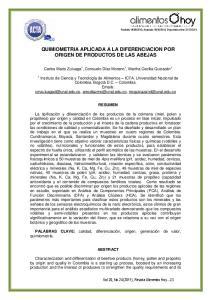 QUIMIOMETRIA APLICADA A LA DIFERENCIACION POR ORIGEN DE PRODUCTOS DE LAS ABEJAS
