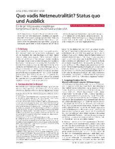 Quo vadis Netzneutralitat? Status quo und Ausblick